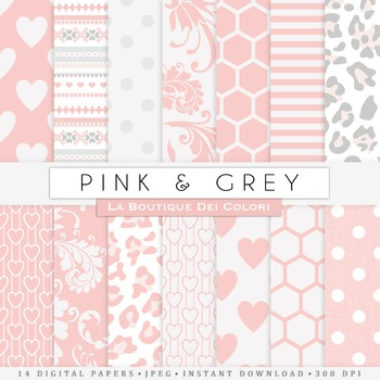 Pink and Gray Digital Paper, scrapbook backgrounds