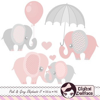 Pink and Gray Elephant Clipart Set