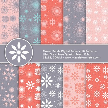 Pink and Gray Flowers Digital Paper, Printable Floral Papers