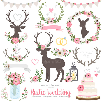 Pink and Gray Rustic Wedding Clipart - Pink Grey Deer and Flower Wreath Graphics