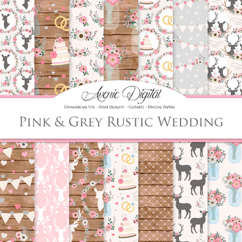 Pink and Gray Rustic Wedding Digital Paper - Pink Grey Wedding Seamless Patterns