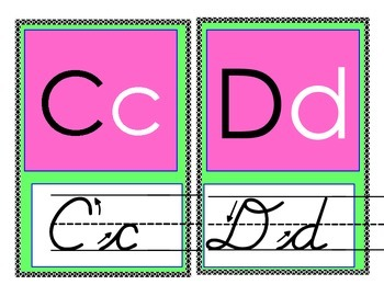 Pink and Green ABC letters with cursive, dipthongs, and blends