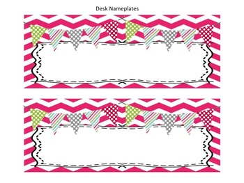 Pink and Green Chevron Classroom Decor Pack