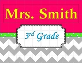 Chevron Teacher's Name Sign Pink and Green