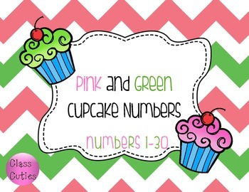 Pink and Green Cupcake Numbers 1-30