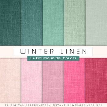 Pink and Green Linen Digital Paper, scrapbook backgrounds