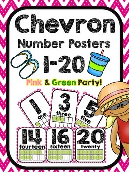 Pink and Green Party Chevron Number Posters 1 to 20
