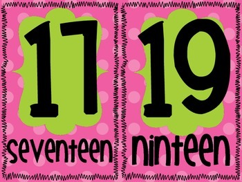 Pink and Green Polka Dot Number Word Signs