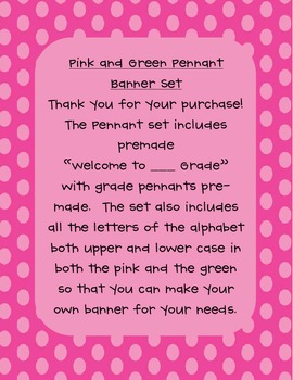 Pink and Green Polka Dot Pennant Set