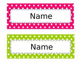 Pink and Green Polka-dot Nameplates