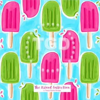 Pink and Green Ice Pop digital paper - Original Art Printa