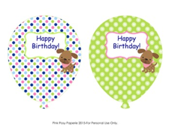 Pink and Green Puppy Birthday Balloons (4 different designs)