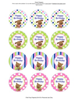 Pink and Green Puppy Birthday Pencil Toppers