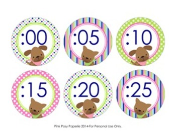 Pink and Green Puppy Clock Number Labels