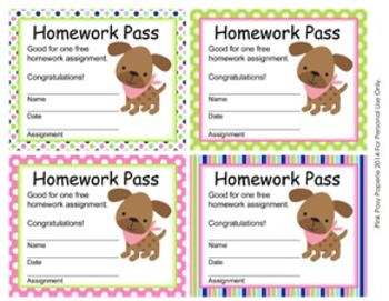 Pink and Green Puppy Homework Passes