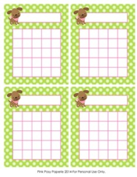 Pink and Green Puppy Incentive Reward Charts