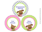 Pink and Green Puppy Pencil Caddy Labels