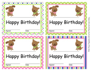 Pink and Green Puppy Theme Birthday Certificates