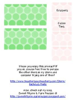 Pink and Green Sunspots - Teacher Toolbox Labels