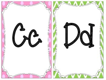 Pink and Green Themed Alphabet Line