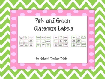 Pink and Green Themed Classroom Labels