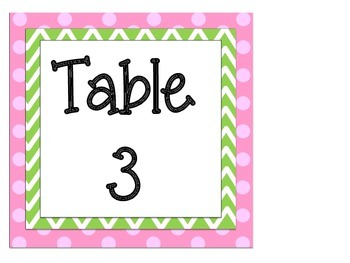 Cubby Numbers and Table Signs: Pink and Green Themed