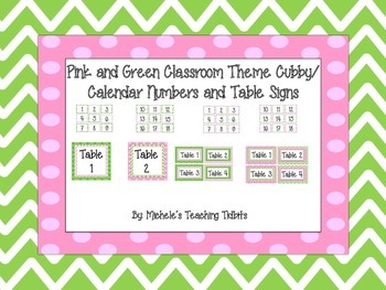 Pink and Green Themed Cubby Numbers and Table Signs