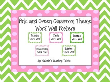 Word Wall Signs: Pink and Green Themed