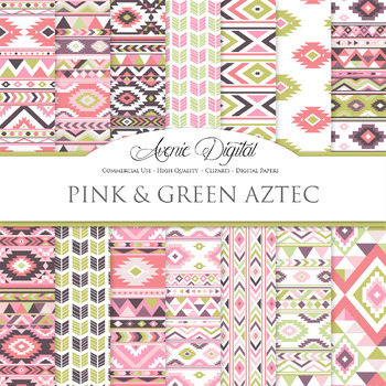 Pink and Green aztec Digital Paper arrows tribal patterns scrapbook background