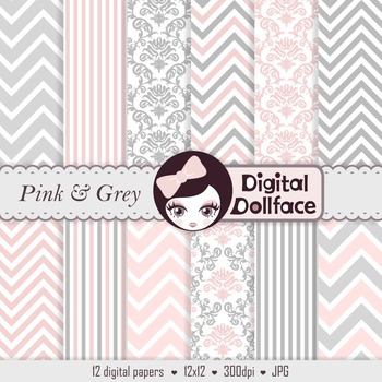 Pink and Grey Digital Paper, Chevron, Damask & Striped Bac
