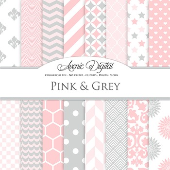 Pink and Grey Digital Paper patterns - backgrounds