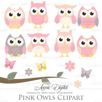 Pink and Grey Owl Cliparts - Vectors clip art
