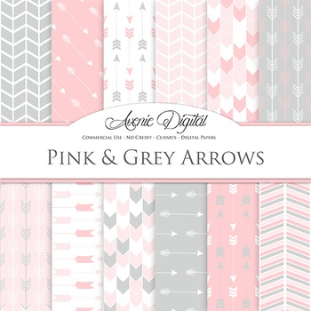 Pink and Grey Digital Paper patterns tribal arrows gray sc