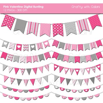 Pink and Grey Valentine Pennant Bunting Clip Art