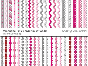 Pink and Grey Valentine Theme Borders