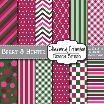Pink and Hunter Green Medley Digital Paper 1106