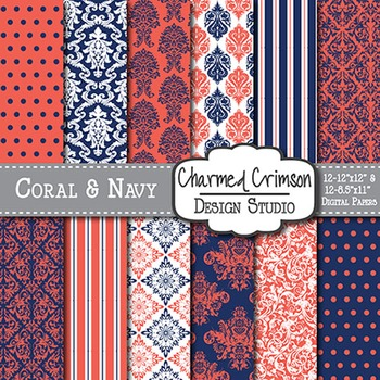 Coral and Navy Damask Digital Paper 1369