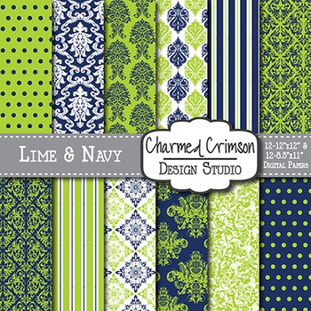 Pink and Lime Green Damask Digital Paper 1370