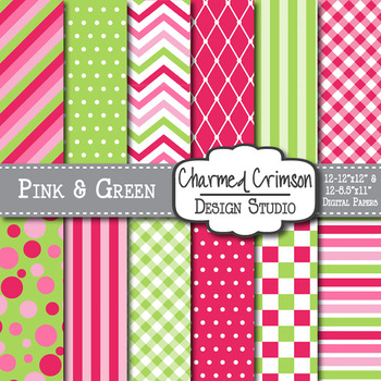 Pink and Lime Green Medley Digital Paper 1066