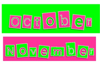 Pink and Lime green monthly headings