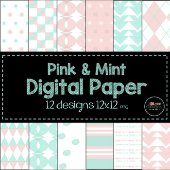 Pink and Mint Digital Paper