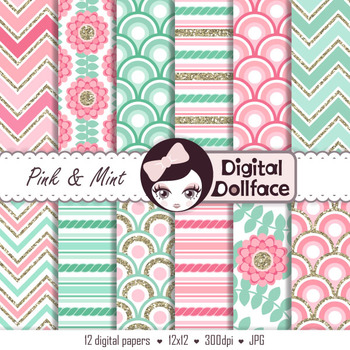 Pink and Mint Digital Paper / Floral, Chevron, Stripes, Scallops w/ Glitter Gold