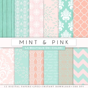 Pink and Mint Digital Paper, scrapbook backgrounds
