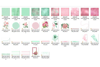 Pink and Mint Digital Scrapbooking Kit