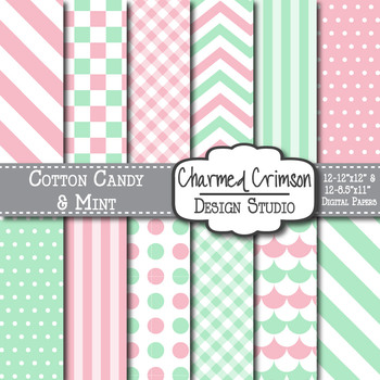 Pink and Mint Green Digital Paper 1154