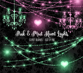 Pink and Mint Heart String Lights clipart, chandeliers, valentine bokeh overlays