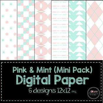 Pink and Mint Mini Pack Digital Paper