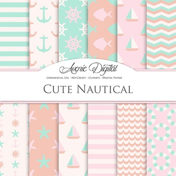 Pink and Mint Nautical Digital Paper patterns - sea backgrounds