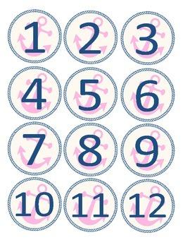 Pink and Navy Anchor Calendar Circles