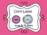 Pink and Navy Blue Chevron Clock Labels